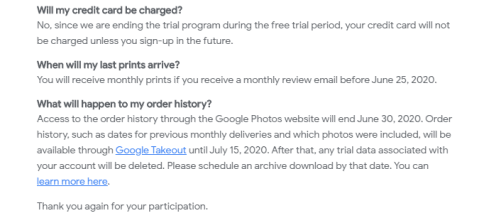 Google Photos printed picture service