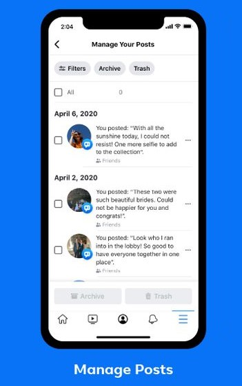 Facebook's Manage Activity