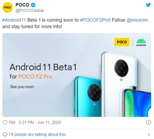 POCO F2 Pro Android 11 Beta update