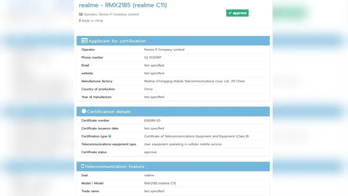 Realme C11 might launch soon as it passes NBTC certification