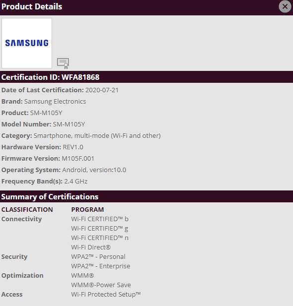 Samsung Galaxy M10 Android 10 update looks nearby suggests WiFi Alliance certification