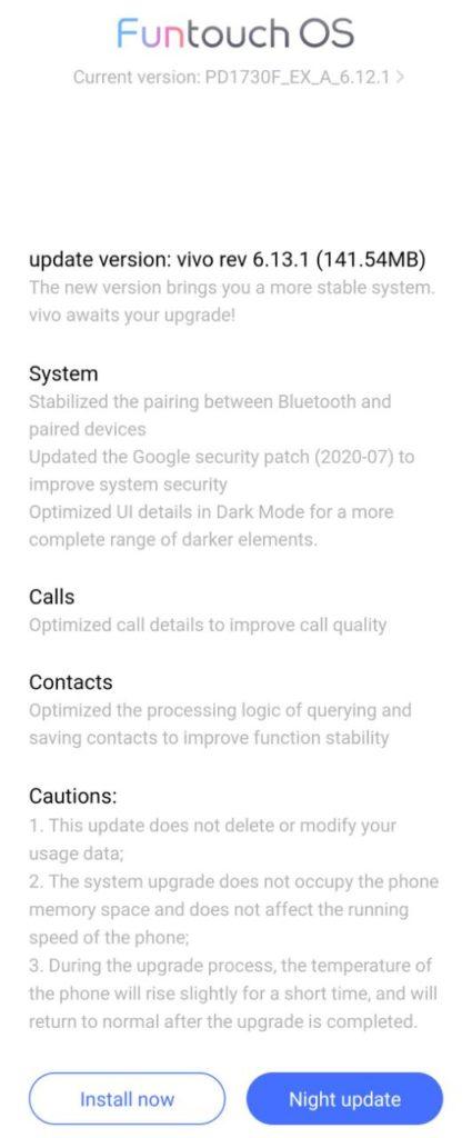 Vivo V9 July security update ( rev 6.13.1)