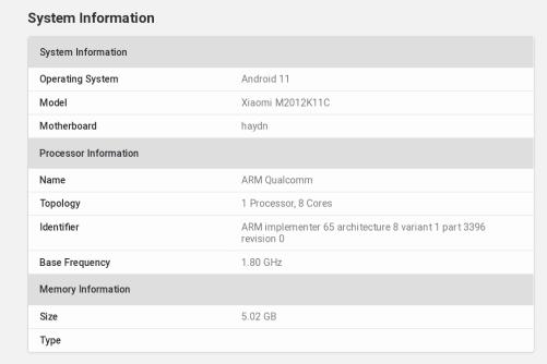 Xiaomi M2012K11C Geekbench