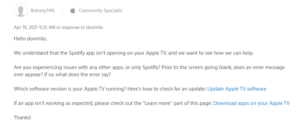 comment from apple community specialist on the Spotify app error