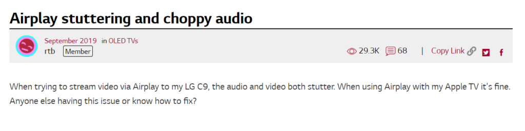 user comment for LG TV stuttering issue with Airplay