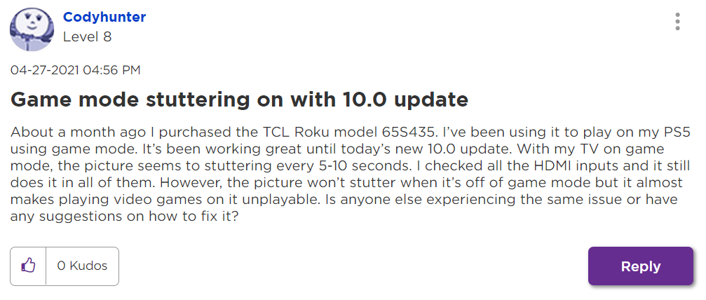 user comment on Roku TV game mode stuttering problem