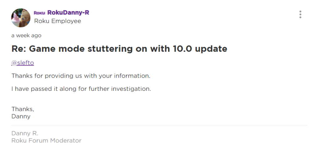 moderator comment on Roku TV game mode stuttering issue