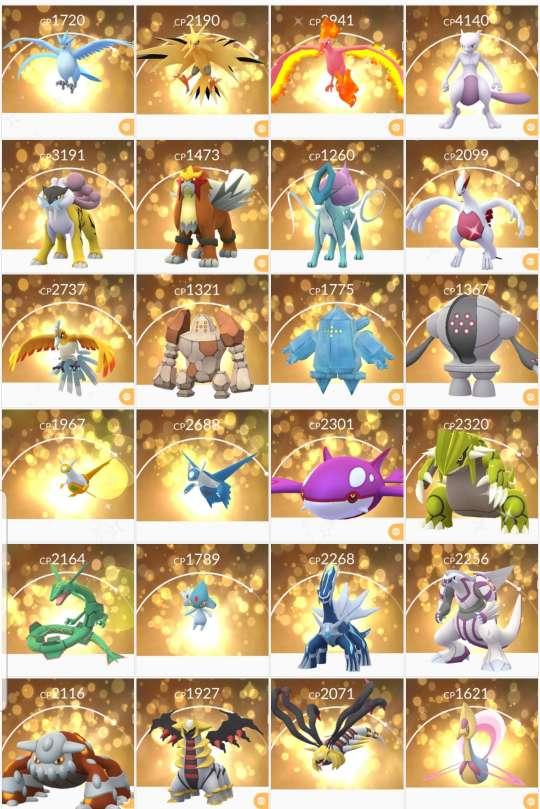 Legendary Pokemons from Pokemon Go