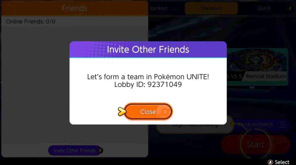 Pokemon Unite Lobby ID