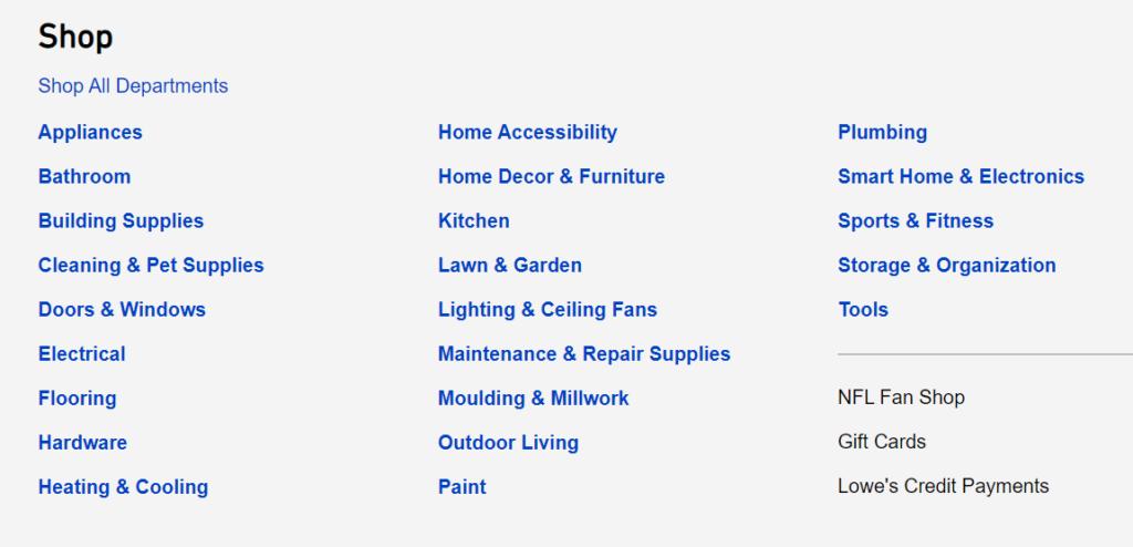 Lowe's app shop categories