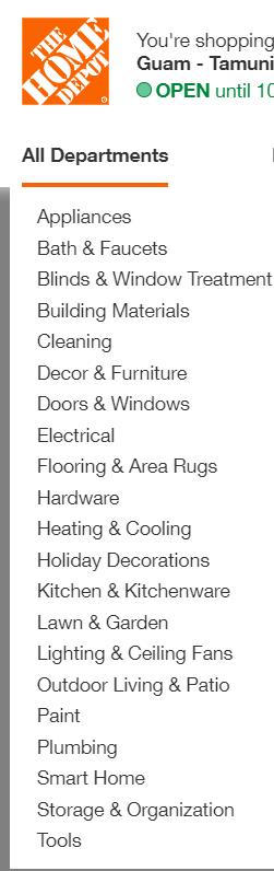 Home Depot app categories