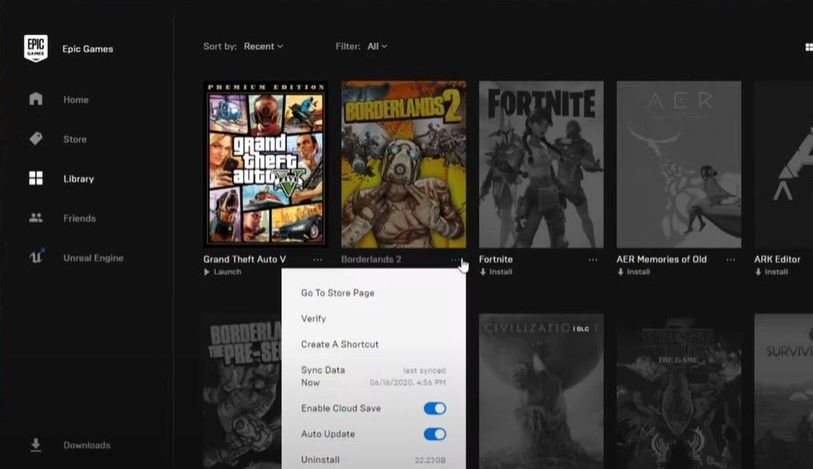 Verify game files in Epic Games