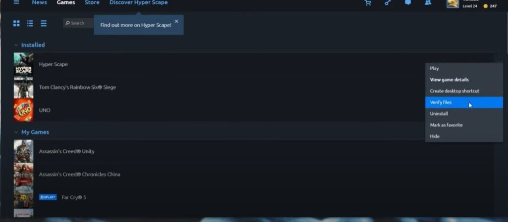 Verify game files in UPlay